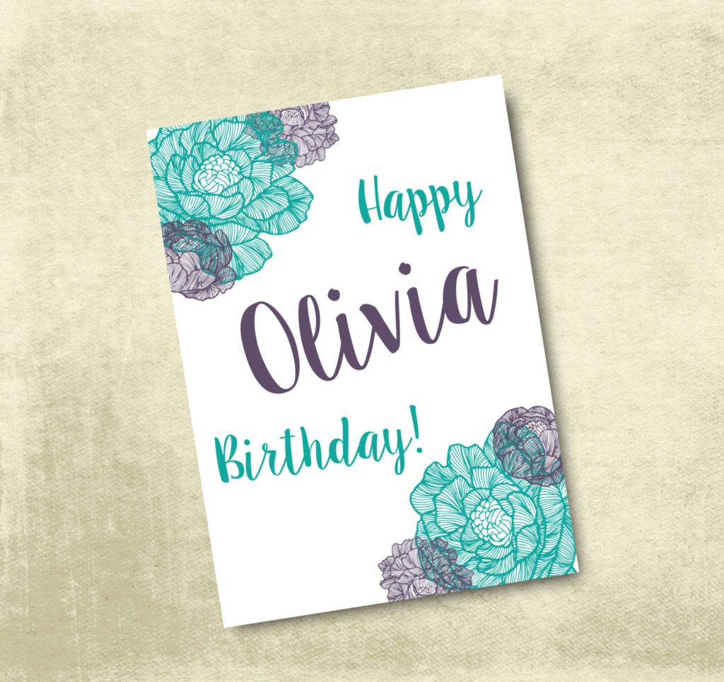 Personalized Printable Birthday Card 5X7 By