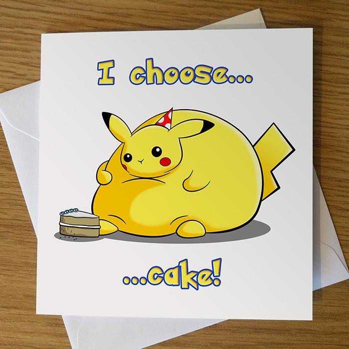 Pikachu Pok mon Birthday Card Ride A Wave Design