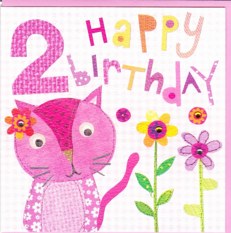 Pink Cat 2nd Birthday Card Karenza Paperie