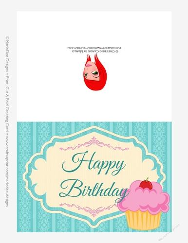 Pink Cupcake 5x7 Print Cut And Fold Birthday Greeting Card