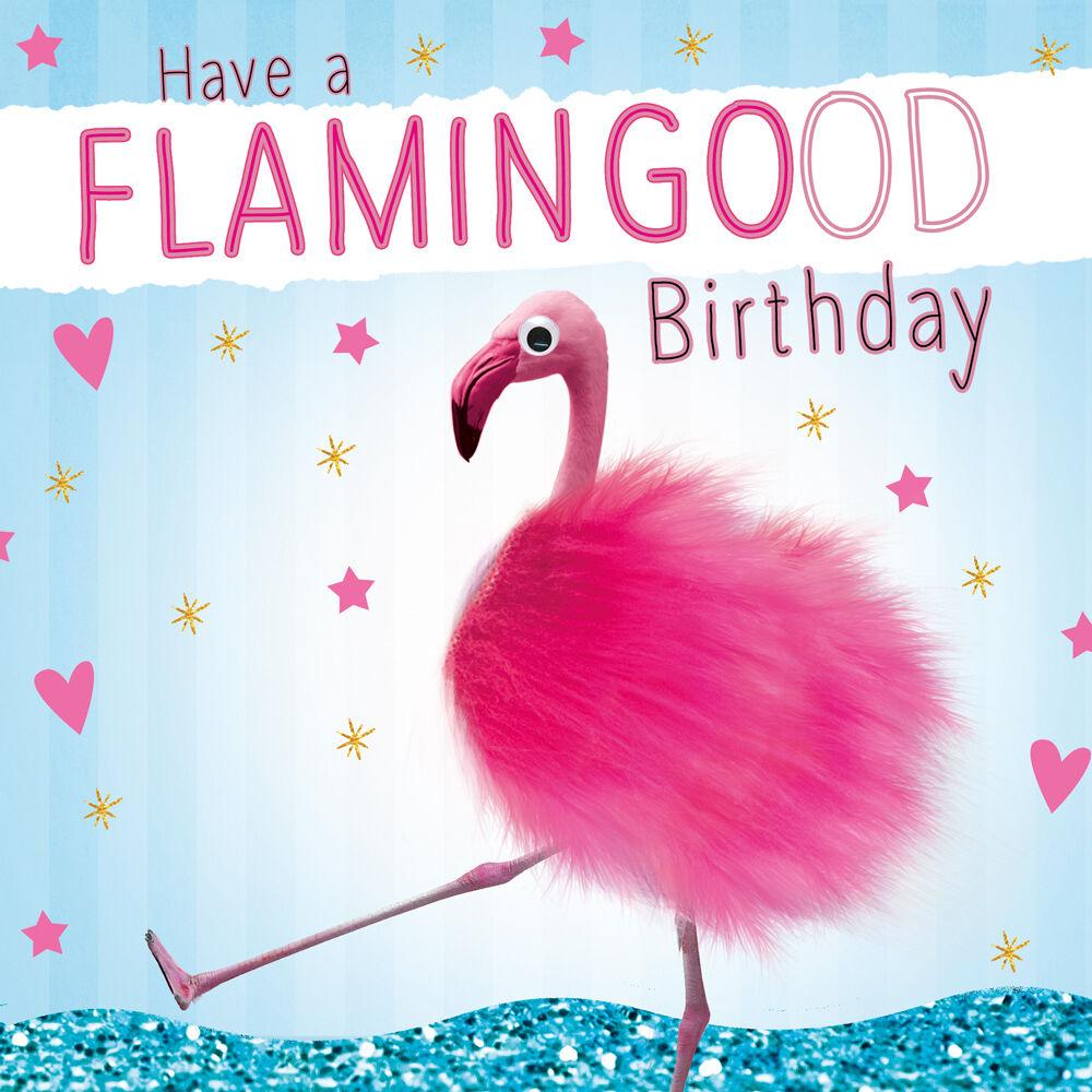 Pink Flamingo 3D Fluff Handmade Luxury Birthday Greeting