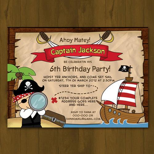 Pirate Birthday Invitation Pirate Ship Birthday Party