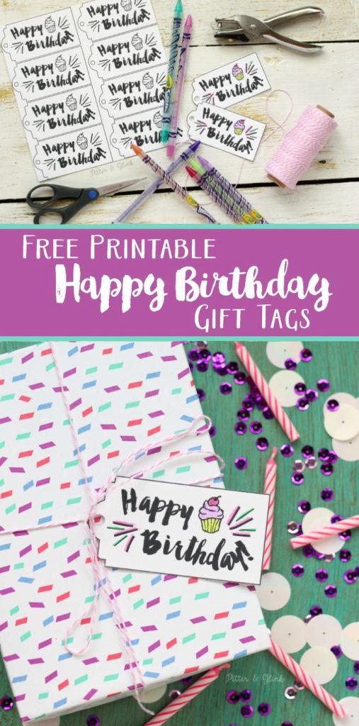 PitterAndGlink Free Printable Happy Birthday Gift Tags