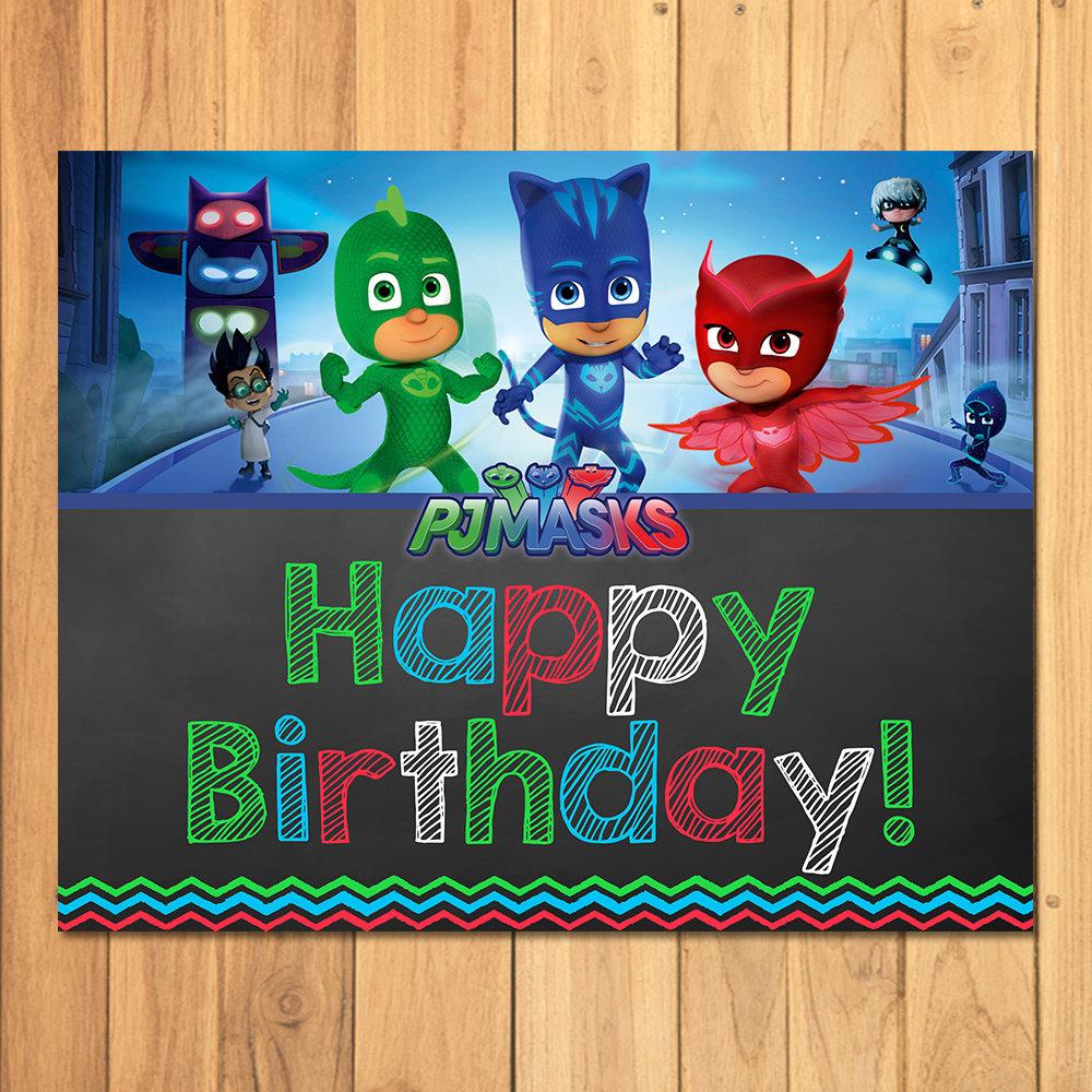 Pj Masks Happy Birthday Sign Chalkboard Pj Masks Birthday