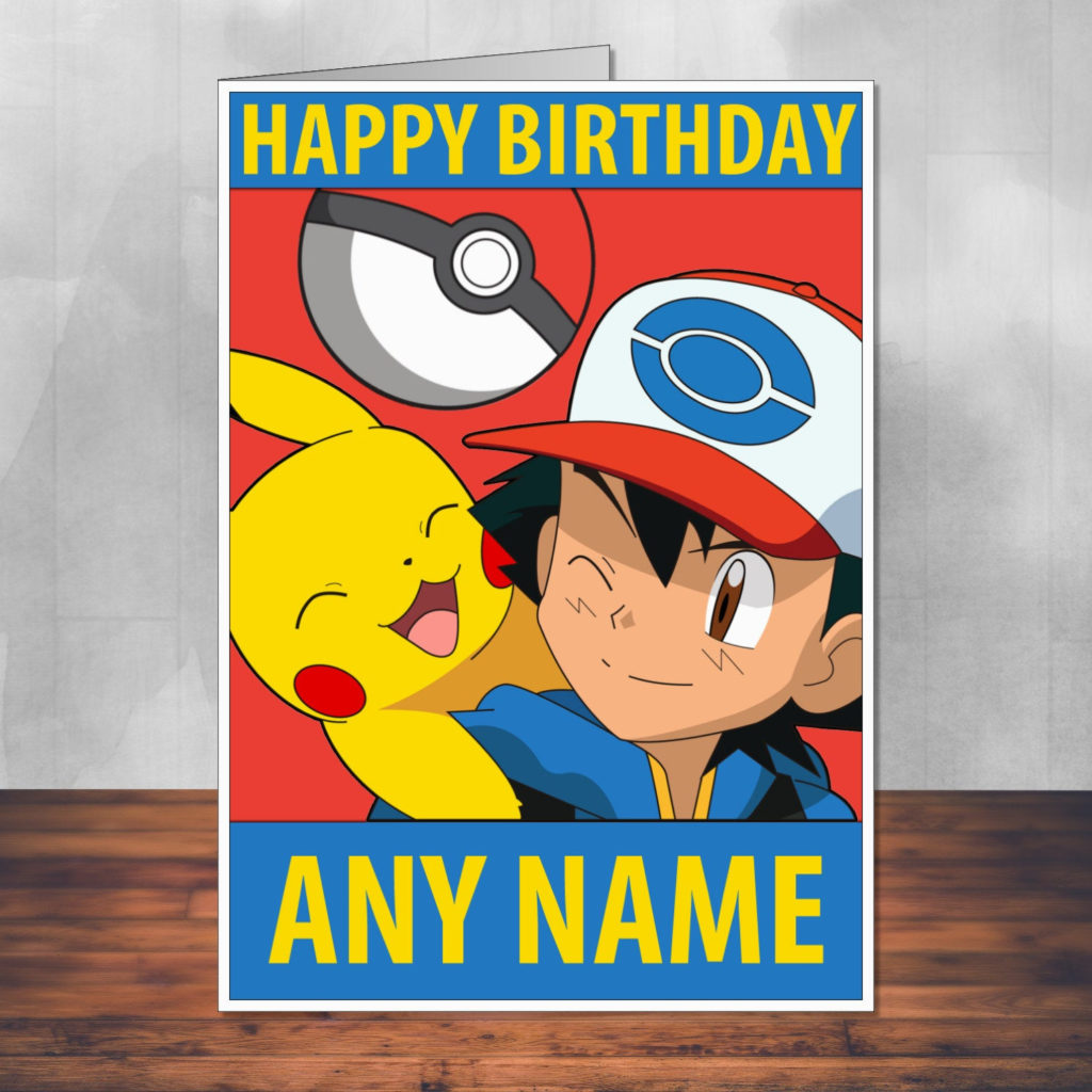 Pokemon Birthday Card Ash And Pikachu Fan Art By