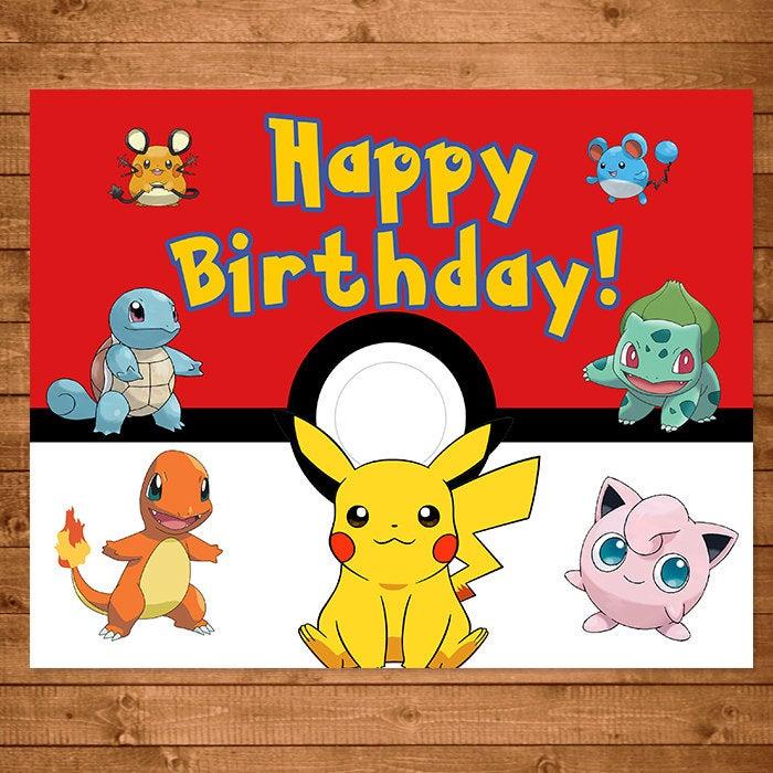 Pokemon Birthday Sign Red White Pokemon Happy Birthday