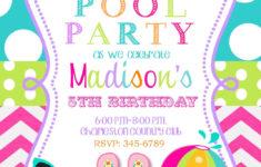 Printable Birthday Invitations Pool Party