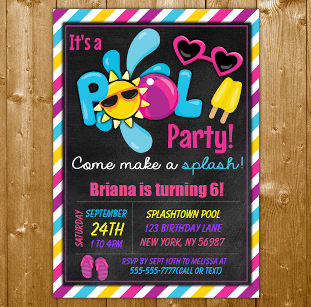 Pool Party Invitation For A Girl Printable Digital