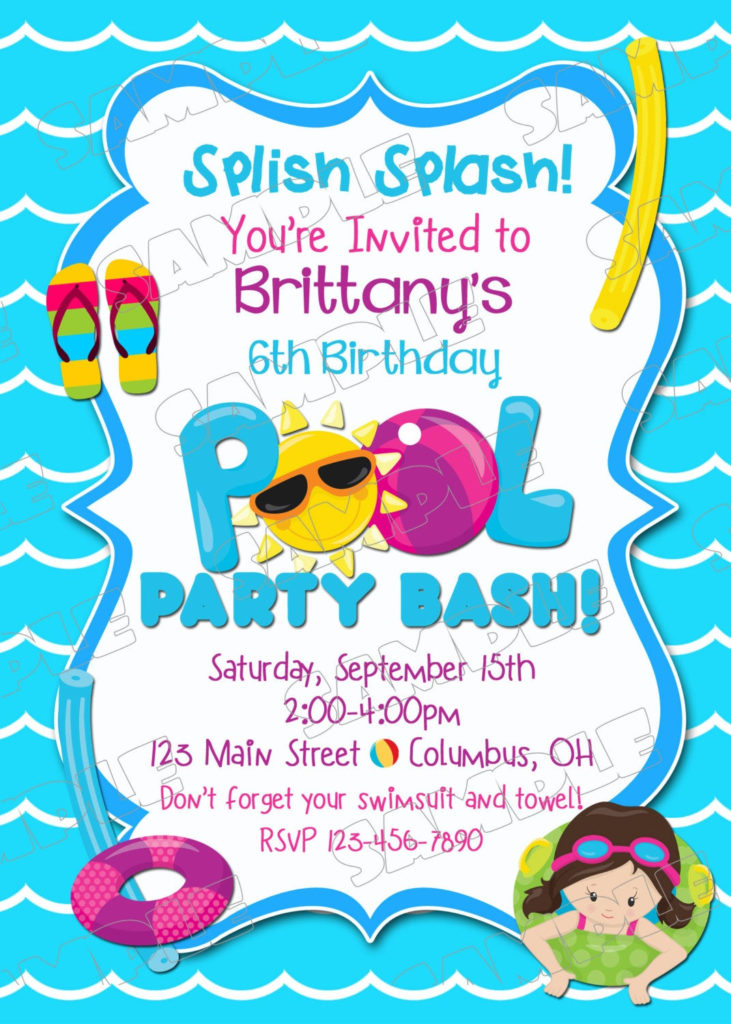 Pool Party Invitation Swim Party Swimming Birthday Party