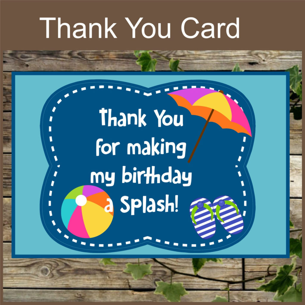Pool Party Printable Thank You Card Instant Download