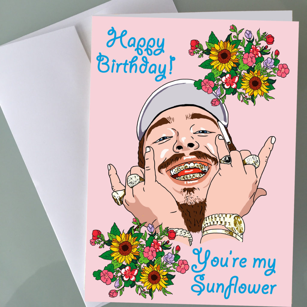 Post Malone Sunflower Birthday Cards Funny Birthday Cards