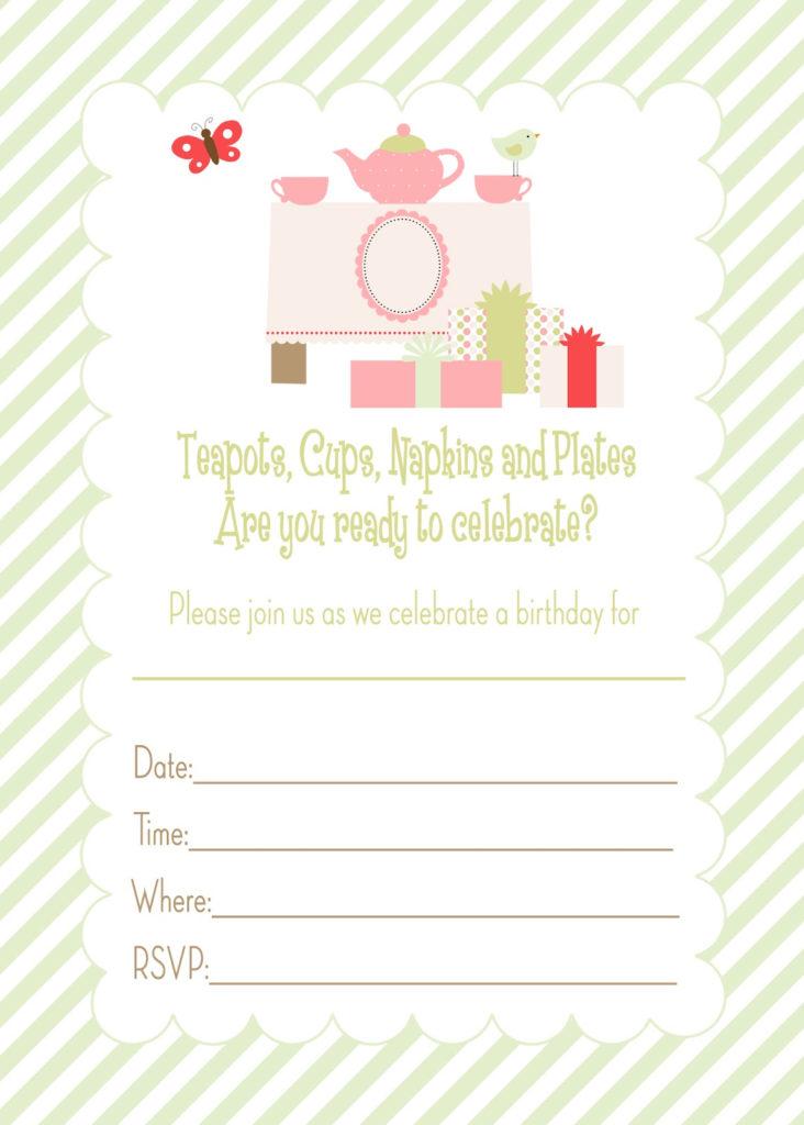 Pretty Printables For You Tea Party Birthday Invitation