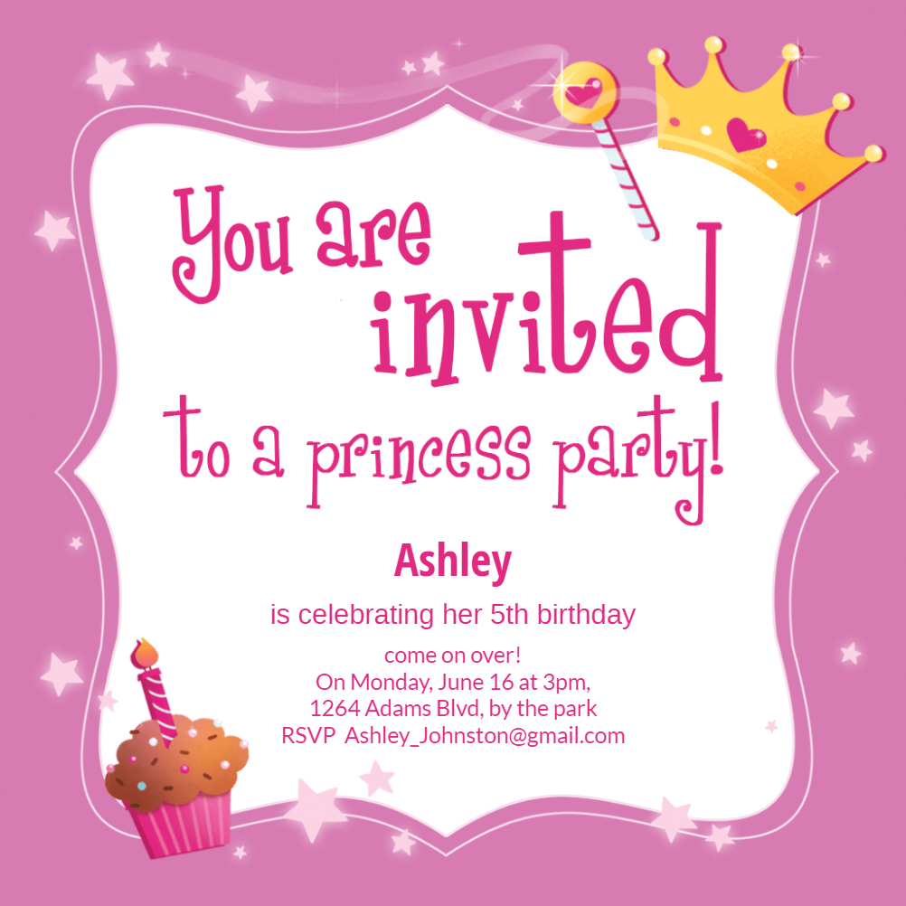 Princess Magic Birthday Invitation Template Free