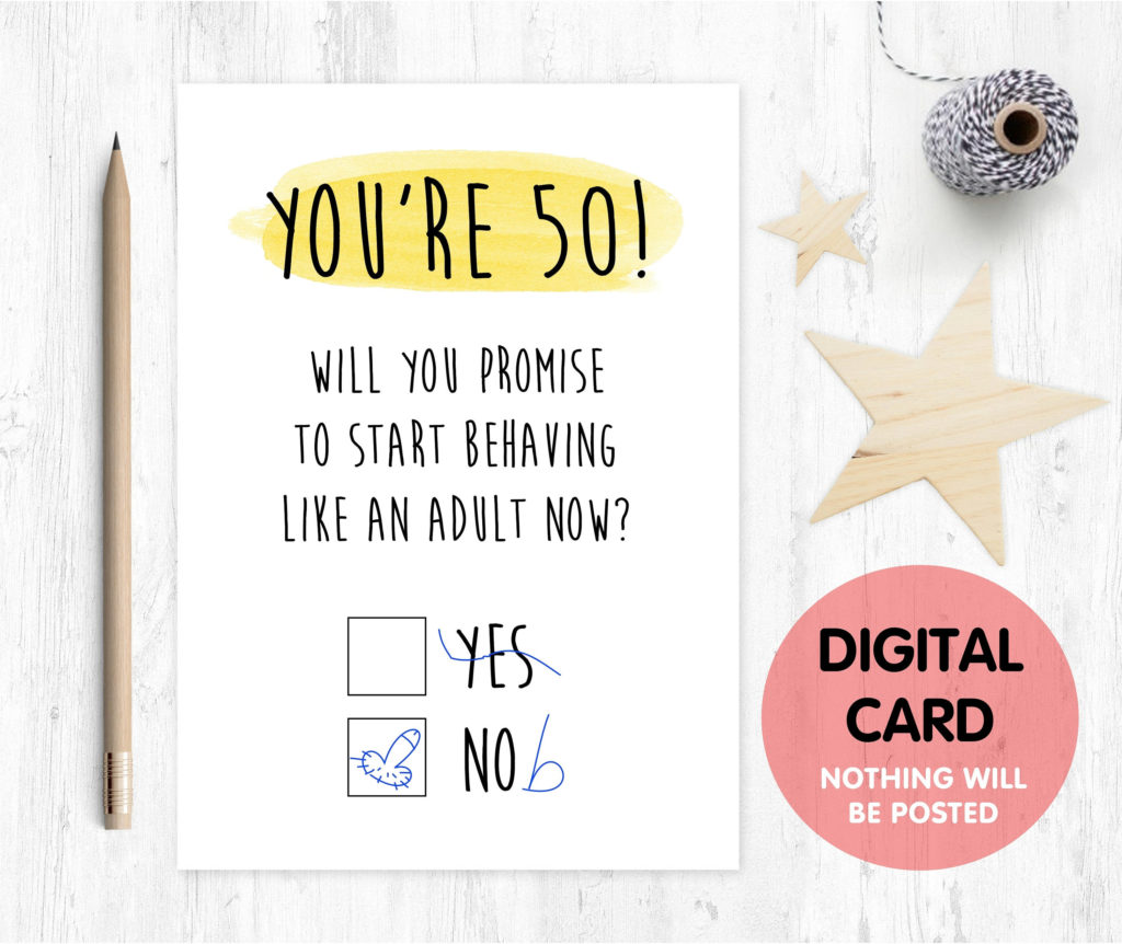 PRINTABLE 50th Birthday Card Digital Download Funny 50th