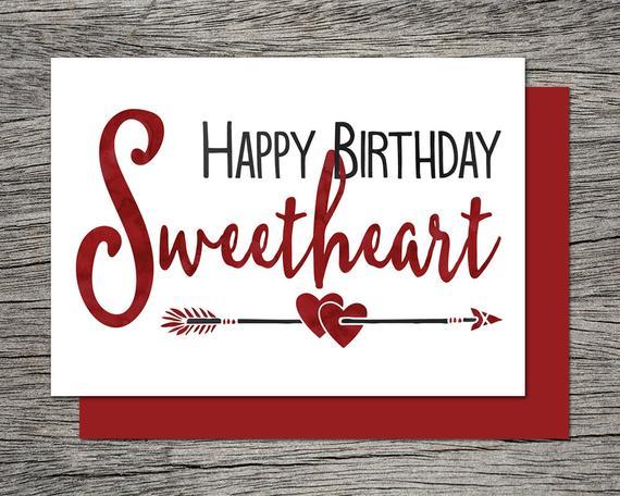 Printable Birthday Card Happy Birthday Sweetheart Instant