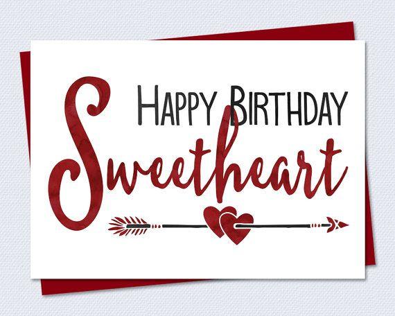 Printable Birthday Card Happy Birthday Sweetheart