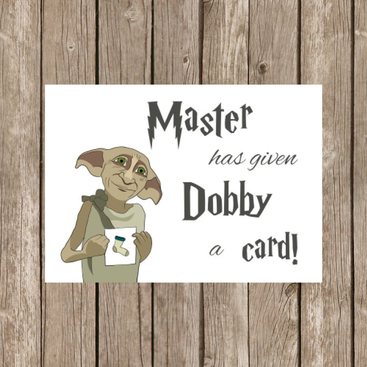 Printable Birthday Card Harry Potter Dobby By OhIneedthis