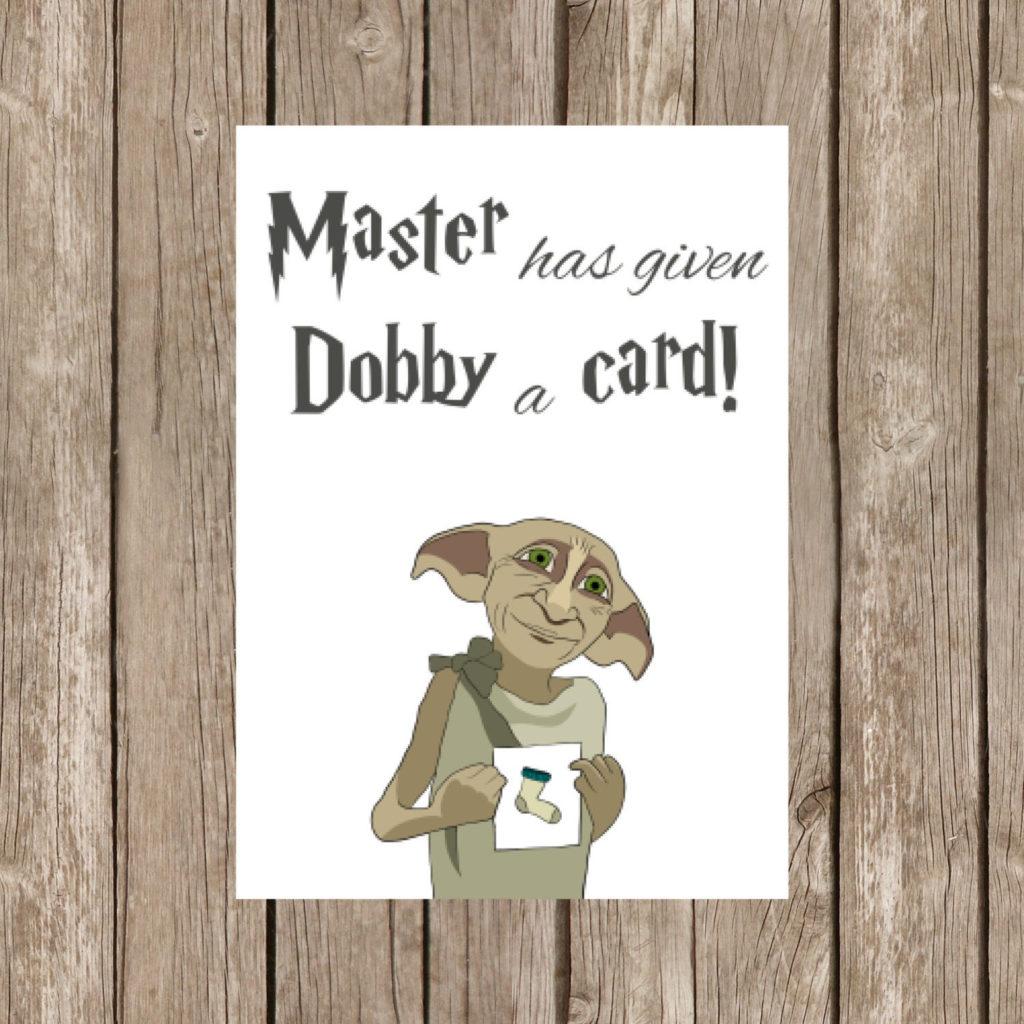 Printable Birthday Card Harry Potter Dobby Watercolor