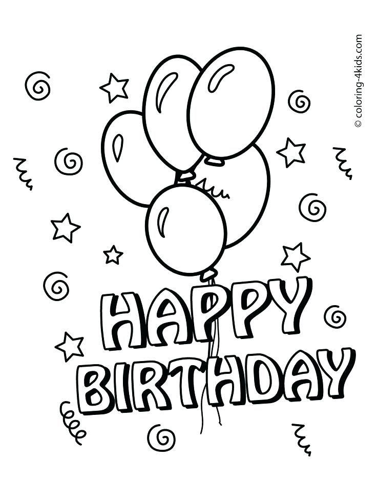 Printable Birthday Colouring Sheets Happy Birthday Cards