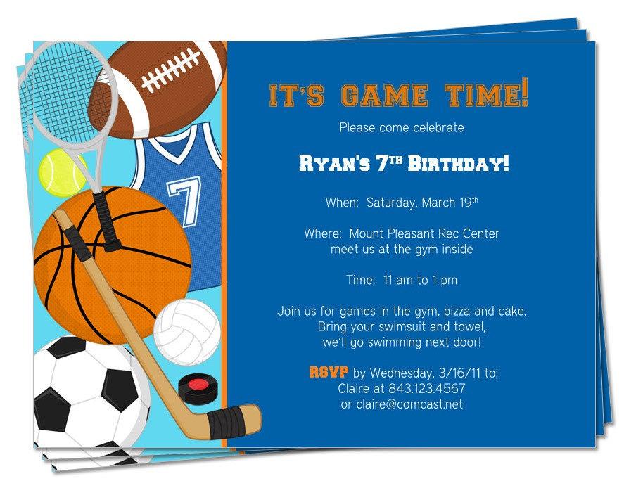 PRINTABLE Birthday Sports Theme Invitation By