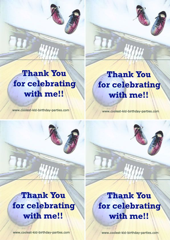 Printable Bowling Foldable Thank You Cards 1 Coolest Free