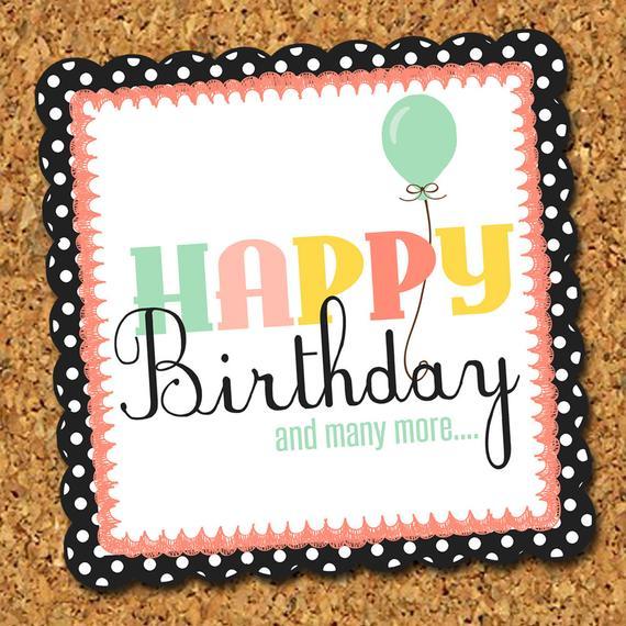 Printable Custom Happy Birthday Tag Personalized Greeting