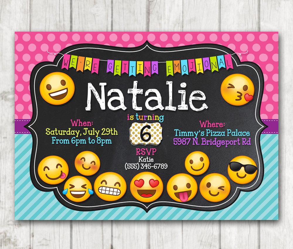 Printable Emoji Chalkboard Polka Dots Birthday Party