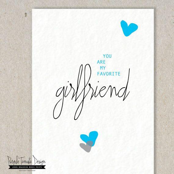 Printable Favorite Girlfriend Card And Envelope DIY