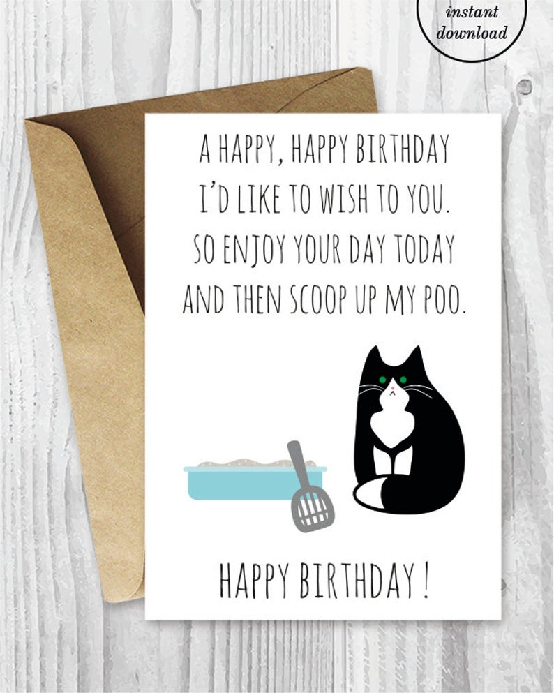Printable Funny Birthday Cards Black And White Cat Cards