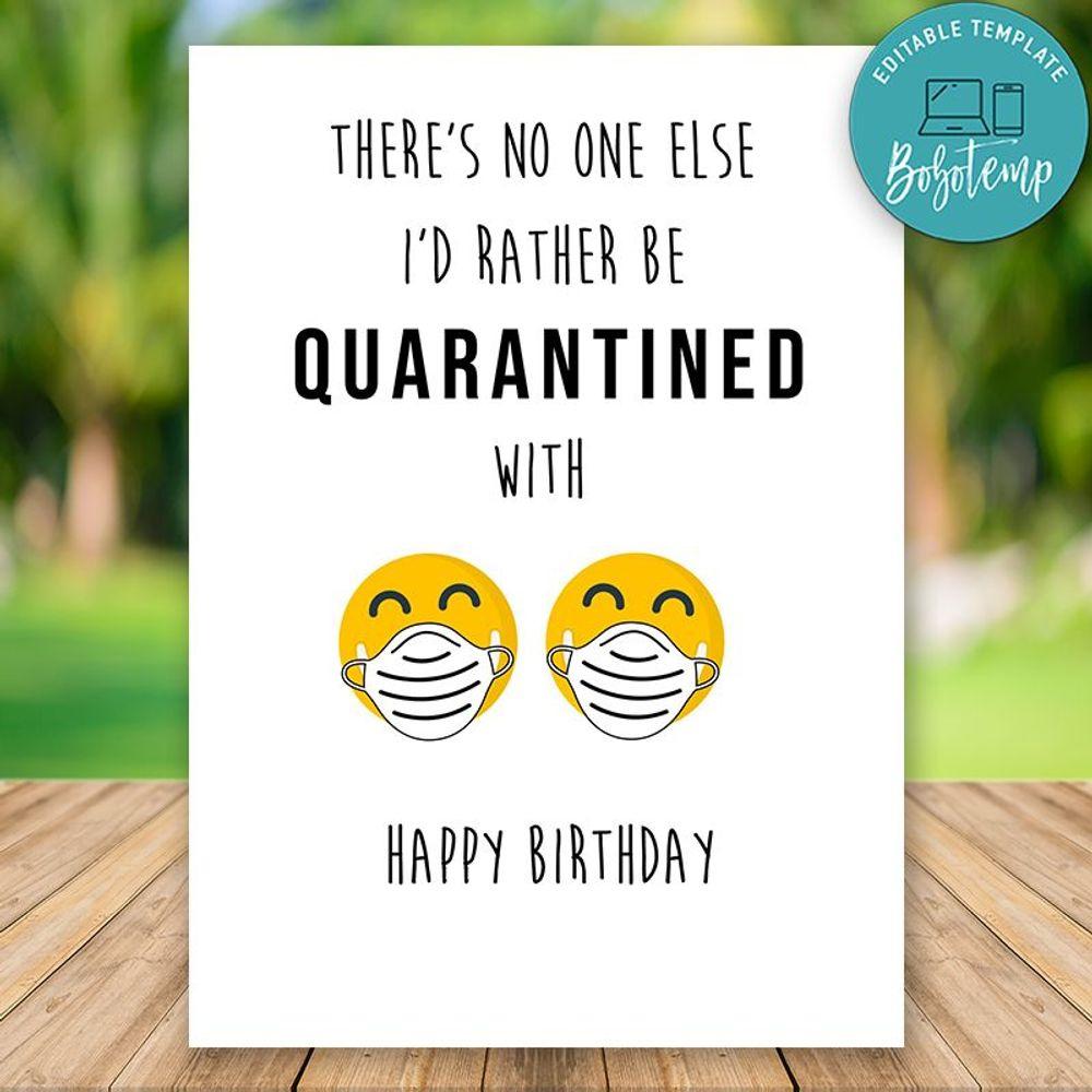 Printable Funny Quarantine Birthday Card For Girlfriend