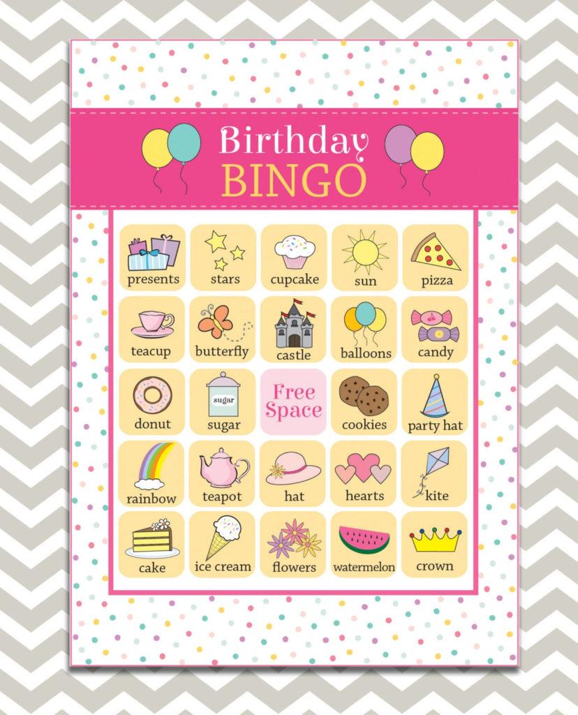 Printable Girl s Birthday Bingo 16 Unique Game Cards