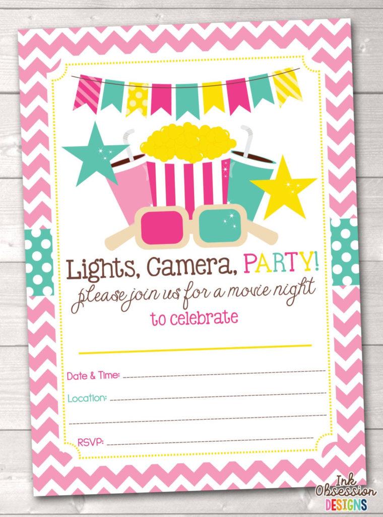 Printable Girls Movie Party Birthday Party Invitation Instant