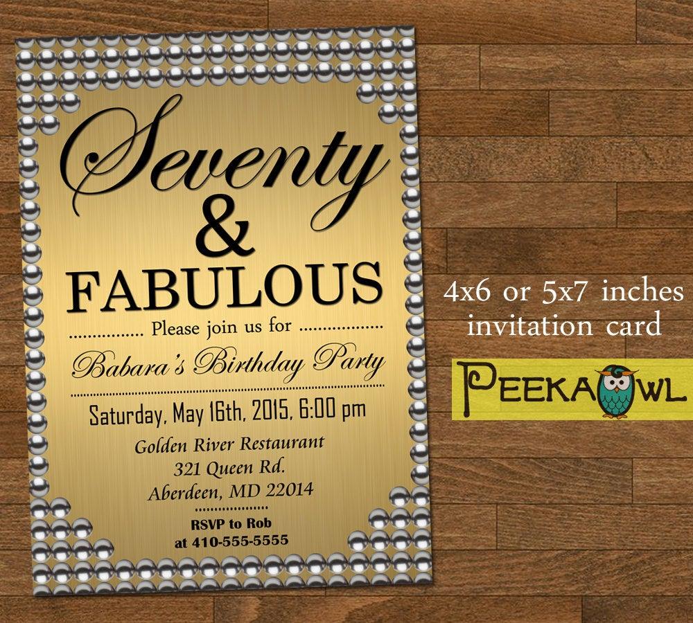 Printable Gold Pearl 70th Birthday Invitation Card Seventy