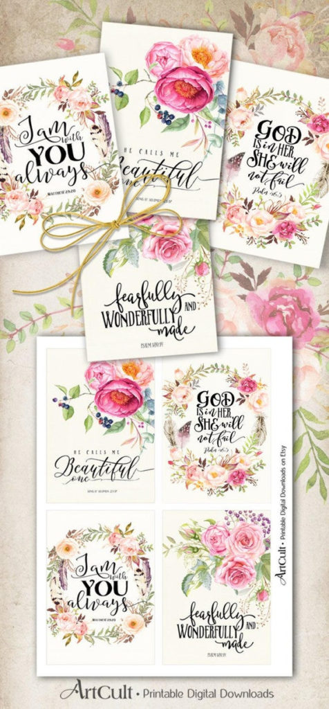 Printable Greeting Cards No1 BIBLE VERSES Four 3 5x5 Inch