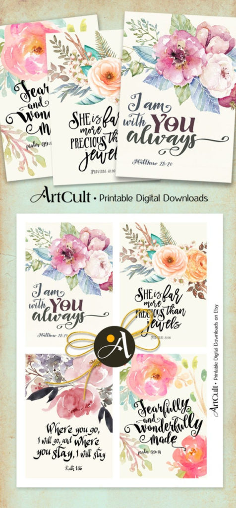 Printable Greeting Cards No2 BIBLE VERSES Four 3 5x5 Inch