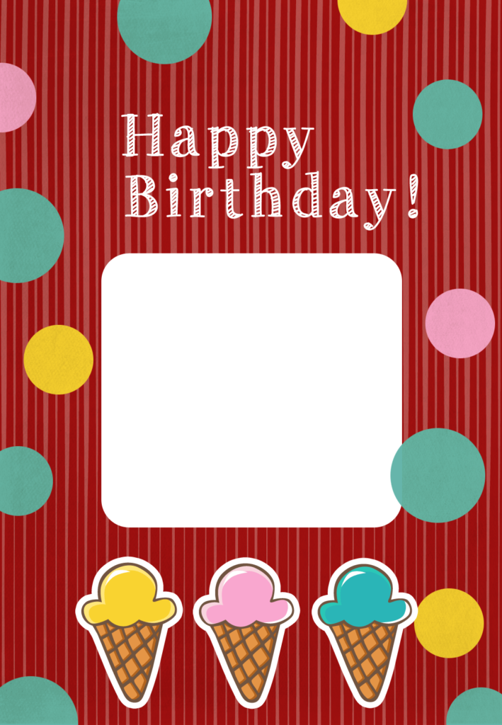 Printable Ice Cream Birthday Card Add Your Own Photo