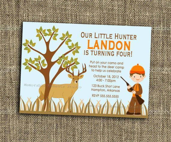 PRINTABLE INVITATIONS Hunting Birthday Invitation Deer