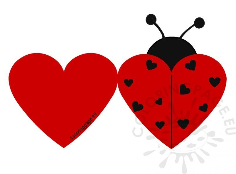 Printable Ladybug Valentine Cards Coloring Page