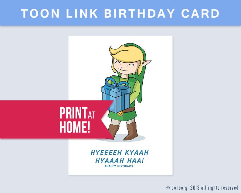 Printable Legend Of Zelda Birthday Card Digital Card Happy