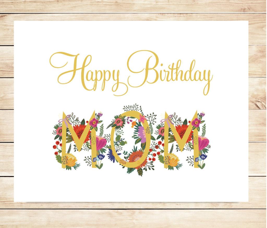 Printable Mom Happy Birthday Card DIY Happy Birthday Card