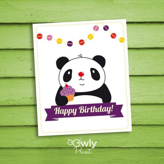 Printable Panda Happy Birthday Card Ready To Print By