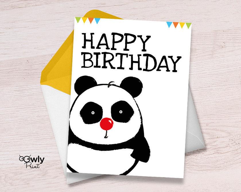 Printable Panda Happy Birthday Card Ready To Print Panda