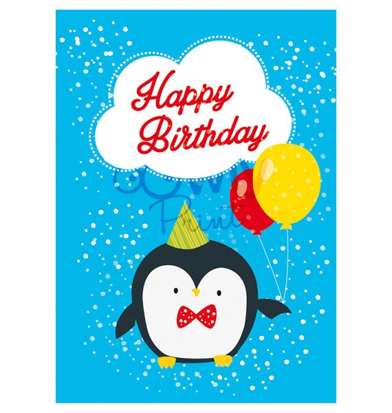 Printable Penguin Happy Birthday Card Ready To Print By