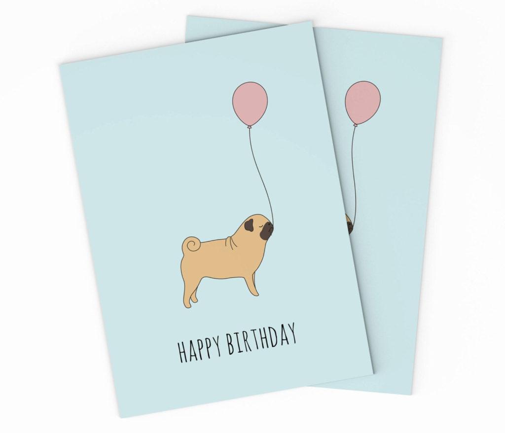 Printable Pug Happy Birthday Card Pug Birthday Card Kids