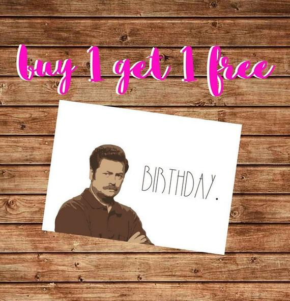 Printable Ron Swanson Birthday Card Funny Ron Swanson By