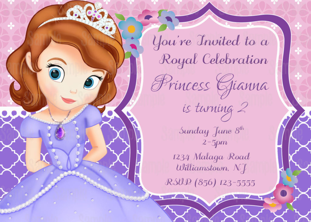 Printable Sofia The First Birthday Party Invitation Plus FREE