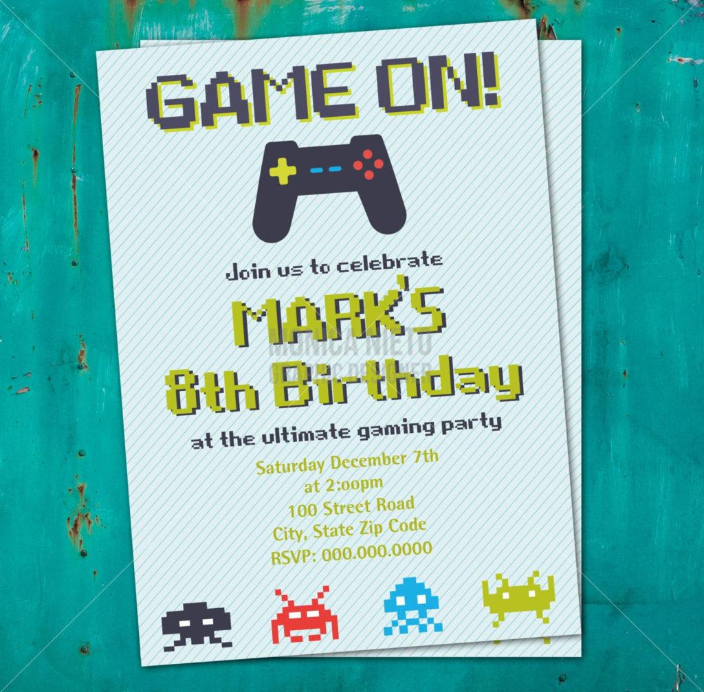 Printable Video Game Birthday Invitation 8 Bit Invitation