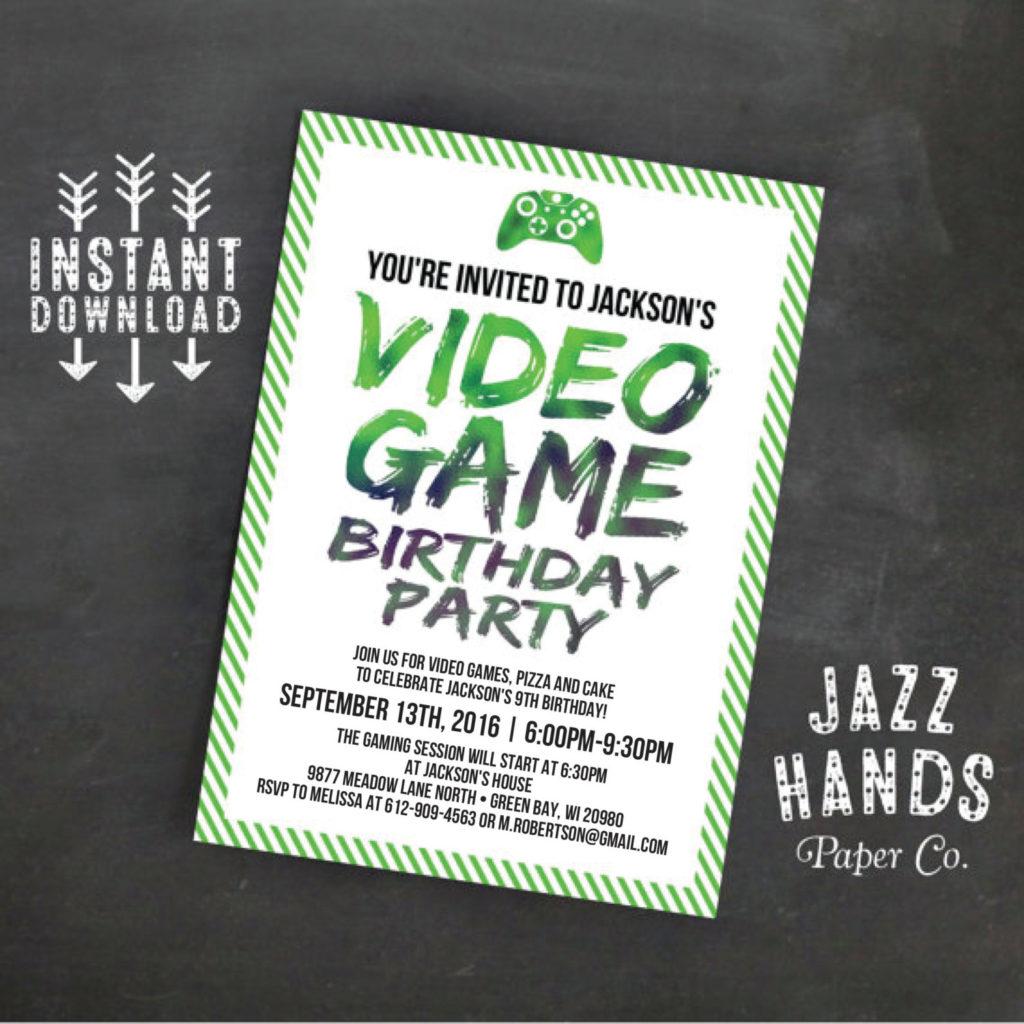 Printable Video Game Birthday Invitation Template DIY