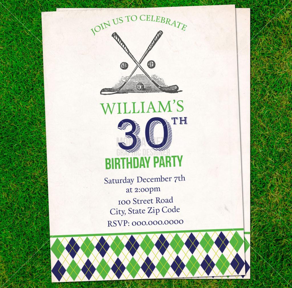 Printable Vintage Golf Birthday Invitation Retirement Card