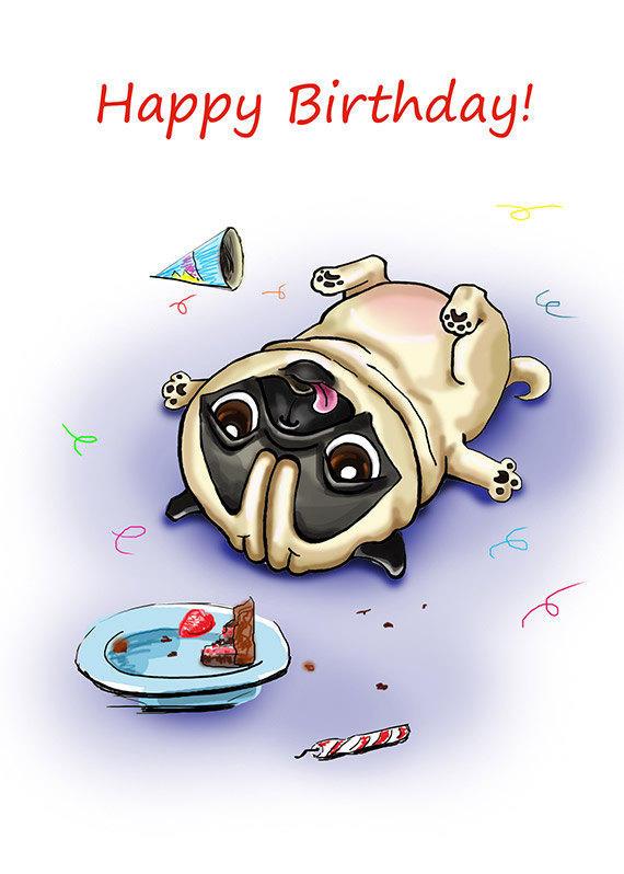 Pug Birthday Printable Greeting Card From Fenekdolls On